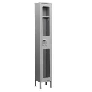 Salsbury Industries S 61000 Series 12 in. W x 78 in. H x 12 in. D Single Tier See Through Metal Locker Assembled in Gray S 61162GY A