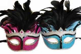 Vintage Venetian Elegant Swan w/ Grand Feathers Design Laser Cut Masquerade Mask for Mardi Gras Events or Halloween   2pc for Couples/Men/Women   Pink & Blue  Facial Masks  Beauty