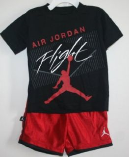 Nike Jordan Jumpman Toddler Boy's 'Air Jordan Flight' Short Set   Black/Red (2T) Sports & Outdoors