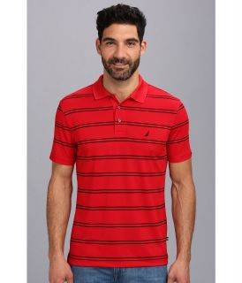 Nautica Stripe Tech S/S Pique Polo Shirt Mens Short Sleeve Pullover (Red)