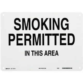 "Brady 25148 14"" Width x 10"" Height B 401 Plastic, Black on White Sign, Legend ""Smoking Permitted In This Area"" Industrial Warning Signs"