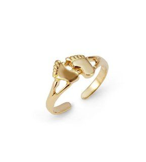 Solid 14k Yellow Gold Feet Footprints Toe Ring Jewelry