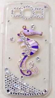 iPhashon 3D PURPLE SEAHORSE Bling Crystal Case for Samsung Galaxy S3 III i9300 High Quality Crystals Cell Phones & Accessories
