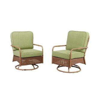 Hampton Bay Clairborne Motion Patio Lounge Chair with Moss Cushion (2 Pack) DY11079 LA 2