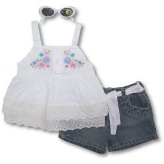 Nannette Toddler Girls White Eyelet Shirt, Denim Shorts And Sunglasses SIZE 4T Clothing