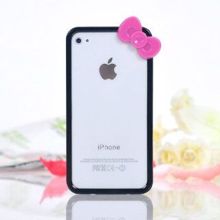 Black Bow Tie iphone 4 4S Bumper Case + Cute Nerd Glasses Frames with Bow Tie Bow Knot Cat Eyes for Girls Black with Red Bow Tie NO LENSES