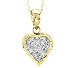 14K Yellow Gold 0.25cttw Graciously Charming Princess Cut Diamond Heart Pendant Jewelry