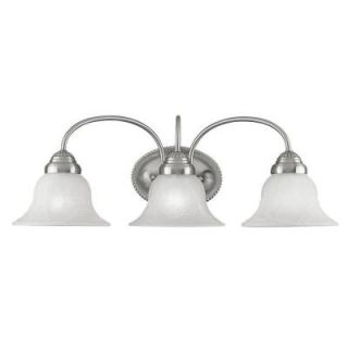 Filament Design 3 Light 8 in. Bath Light Brushed Nickel Finish White Alabaster Glass CLI MEN1533 91