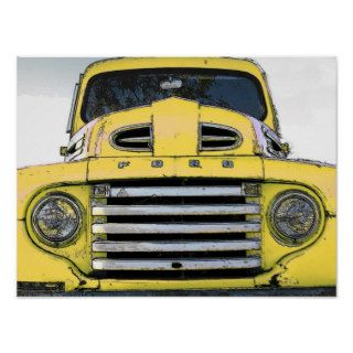Vintage Yellow Ford Truck Print