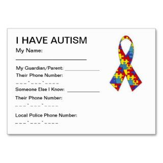 Autism ID cards Business Cards