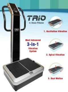 Vmax Fitness TRIO Whole Body Vibration Machine; DUAL vibration, 3 vibration modes; Premium Home; 440 lb limit, rear wheels; Computer programmable  Vibrating Platform Exercise Machines  Sports & Outdoors