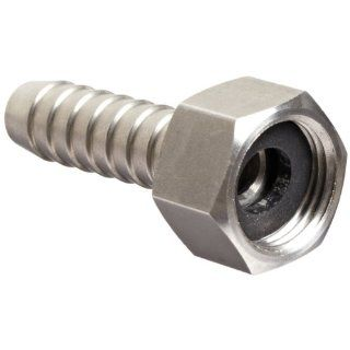 "Dixon RES444 Stainless Steel 316 Hose Fitting, Short Shank Coupling with Nut, 1/2"" NPSM Female x 1/2"" Hose ID Barbed"