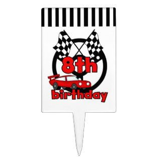 Red Racing Car 8th Birthday Cake Topper