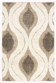 Safavieh Florida Shag Collection SG461 1179 Cream and Smoke Shag Area Rug, 4 Feet by 6 Feet   Shag Runner