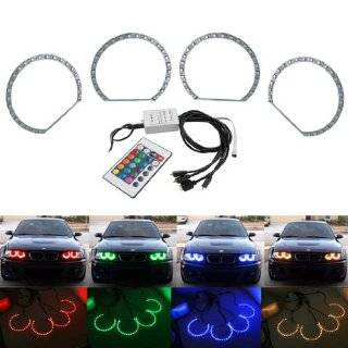 iJDMTOY Multi Color 96 SMD RGB LED Angel Eyes Halo Ring Lighting Kit w/ Remote Control for BMW E36 E46 E38 E39 3 5 7 Series Automotive