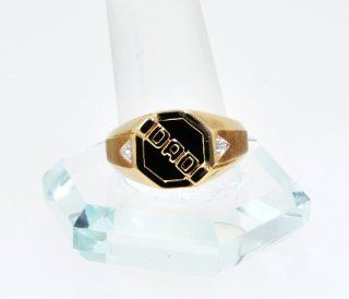 "10K Yellow Gold Diamond/Onyx ""Dad"" Ring Jewelry"