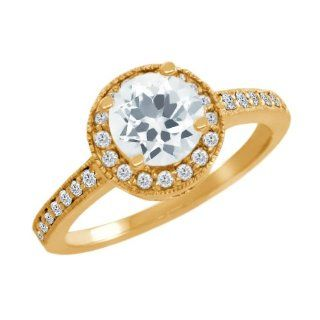 1.05 Ct Round Sky Blue Aquamarine White Diamond 14K Yellow Gold Ring Engagement Rings Jewelry