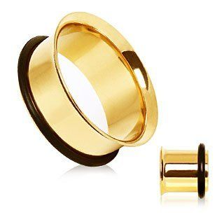 14kt Gold Plating over 316L Surgical Steel Single Flare Tunnel Plug with O Ring   2G (6.5mm)   Sold as a Pair Body Piercing Tunnels Jewelry