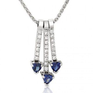 One of a Kind 14K White Gold 5/8ctw Blue Sapphire & Diamond Pendant (GH/VS SI) Pendant Necklaces Jewelry
