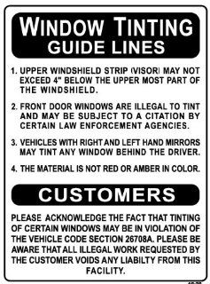 WINDOW TINTING GUIDE LINES24x18 Heavy Duty Indoor/Outdoor Plastic Sign  Yard Signs  Patio, Lawn & Garden