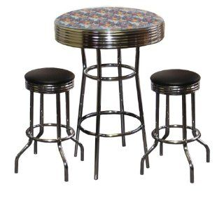 Superman Themed 3 Piece Bar Table Set Glass Top Table with 2 Black Vinyl Swivel Seat Bar Stools   Home Bars