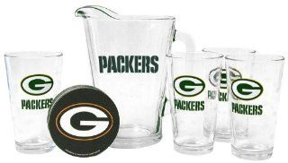 Green Bay Packers Pint Glasses and Pitcher Set  Green Bay Packers Gift Set Kitchen & Dining