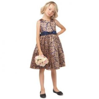 Sweet Kids Girls 7 Navy Gold Floral Lace Christmas Flower Girl Dress Sweet Kids Clothing