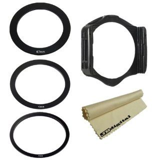 Adapter Ring Set (67MM, 72MM, 77MM) & Filter Holder for Cokin P Series + Super Fine JB Digital Microfiber Cleaning Cloth  Camera Lens Filter Sets  Camera & Photo