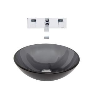 Vigo Glass Vessel Sink in Sheer Black and Wall Mount Faucet Set in Chrome VGT261