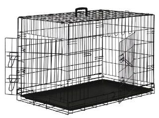 "Premium Folding Black Dog Crate w/ Divider & ABS Tray Pan   Double Door   20"" Length  Pet Crates"