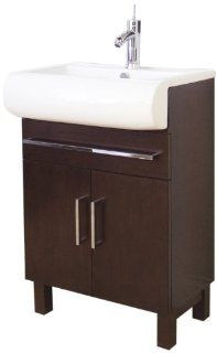 American Imaginations 498 American Birch Wood Vanity with Soft Close Doors and White Ceramic Top for Single Hole Faucet Installation, 24 Inch W x 35 Inch H   Shelving Hardware