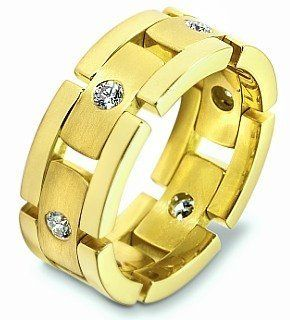 Designer 18 Karat Yellow Gold Link Style Unique Diamond Wedding Band Ring Dora Rings Jewelry