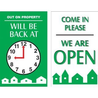 "Accuform Signs MPCM503 Dura Plastic Double Sided ""Be Back"" Clock Sign, Legend ""OUT ON PROPERTY WILL BE BACK AT (PIC OF CLOCK)/COME IN PLEASE WE ARE OPEN"", 5"" Width x 8"" Length, Green/Black/Red on White Industrial Warning Sign"