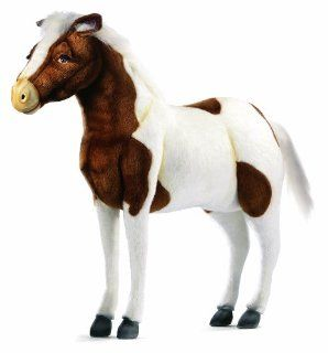 Hansa Ride On Shetland Pony Stuffed Plush Animal, Brown & White Toys & Games