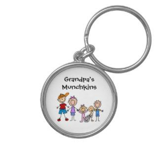 Customized Stick Figure Kids Family Keychain