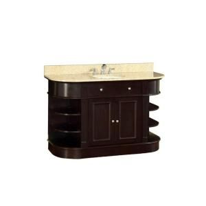 48 in. W x 35 in. H x 22 in. D Vanity in Espresso with Marble Vanity Top in Yellow with White Basin H0830