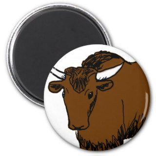 Brown Cartoon Yak Fridge Magnets
