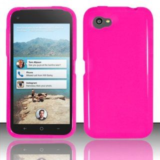 HOT PINK TRANSPARENT TPU Gel Rubber Skin Cover Case for HTC First (Facebook) In Twisted Tech Packaging