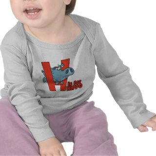 H is for hippo funny alphabet cartoon tee shirts