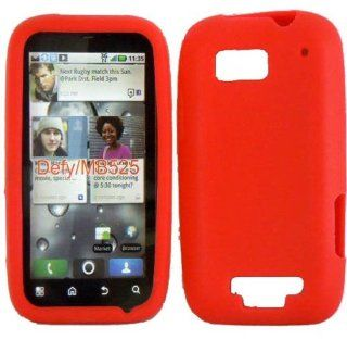 Red Soft Silicone Gel Skin Cover Case for Motorola Defy MB525 Cell Phones & Accessories