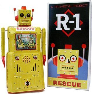 R 1 ROBOT RESCUE   Battery Operated Tin Metal Robot with Flashing Lights and Bump'n Go Action from ROCKET USA * ROBOT ONE RESCUE* Toys & Games