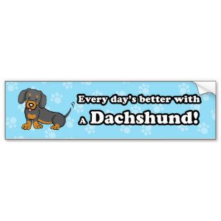 Cute Cartoon Dog Dachshund Bumper Sticker