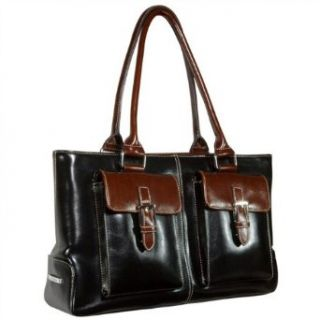 La Philipe Women's Black/Brown Synthetic Leather Dual Handle Satchel Bag Clothing