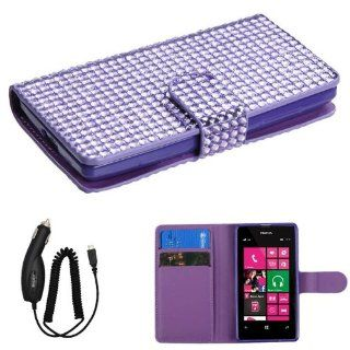 NOKIA LUMIA 521 PURPLE DIAMOND BLING FLIP COVER WALLET ID CASE + FREE CAR CHARGER from [ACCESSORY ARENA] Cell Phones & Accessories