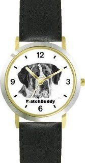 St. Bernard (SC) Dog   WATCHBUDDY� CLASSIC DELUXE TWO TONE THEME WATCH   Arabic Numbers Black Leather Strap Children's Size Small ( Boy's Size & Girl's Size ) WatchBuddy Watches
