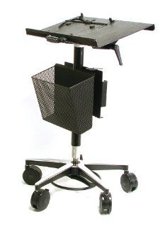 "Vision Laptop Computer Cart with Basket on Wheels includes 4"" Casters, 22"" Top, 26"" Wheel Base, Foot Adjustable Height Computers & Accessories"