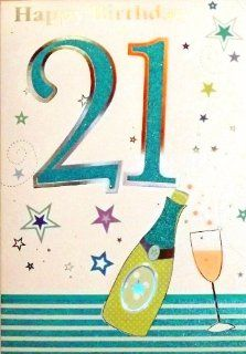 "Large Sized Men's Turquoise Blue & Silver ""Happy Birthday 21"" Birthday Greetings Card   With Foil & Glitter Embossed Champagne & Glass (23cm x 15cm)"