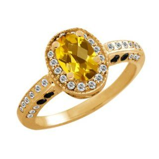 1.28 Ct Oval Checkerboard Yellow Citrine White Sapphire 18K Yellow Gold Ring Jewelry