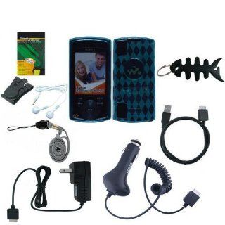 9 items Accessories Bundle For Sony Walkman NWZ  S540, NWZ  S544, NWZ S545 Series includes ( Green TPU Rubber Skin Case Cover + USB Car Charger + USB Wall/ Travel Charger + Straight usb data Cable + White  Earphone + Black Belt Clip + Screen Protector
