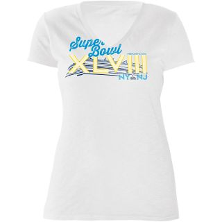 G III Womens Super Bowl XLVIII Burnout V Neck Cap Sleeve T Shirt   Size Large,